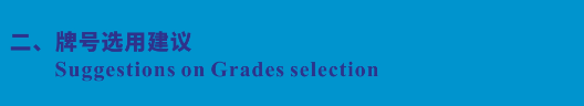 牌号选用建议 Suggestions on Grades selection